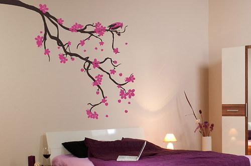 Květoucí sakura s ptáčkem XL