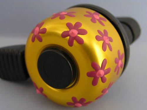 Zvonek na kolo-zlatý s růžovým kvítím