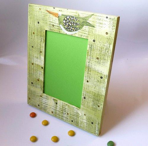 speciální mailový rámeček - zelený s ptáčkem