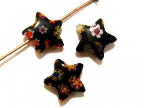 1102011/Hvězda Millefiori černá s mix květy, 1