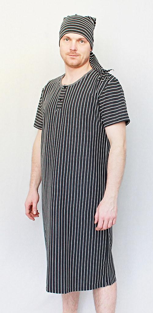 Pánská noční košile s čepičkou - proužek