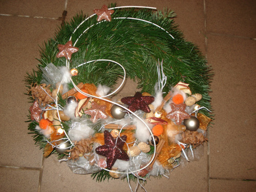 Vánoční věnec na dveře - Lososový
