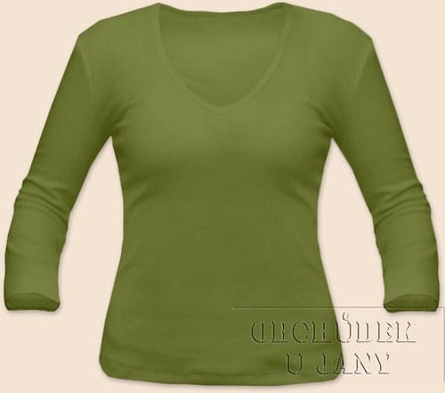 Tričko 3/4 rukáv zelené olivové