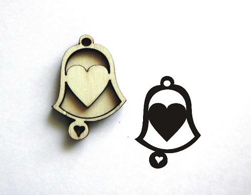 Razítko zvonek srdíčko plné-v.5x3,5cm