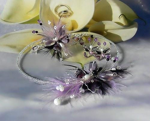 Motýlí extravagance-náhrdelník, náušnice, náramek