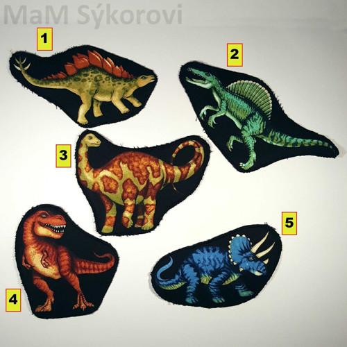 Nažehlovací záplaty dinosauři velcí č.1,2,3,5