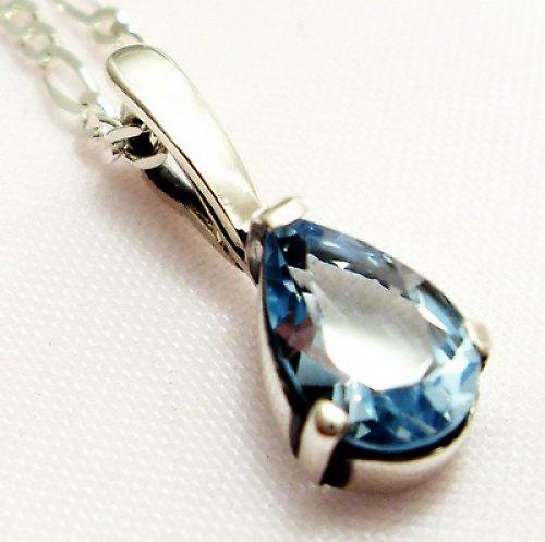 Přívěsek «Déšť» - stříbro 925, modrý topaz