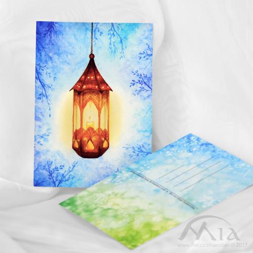 Zimní lucerna - pohlednice A6