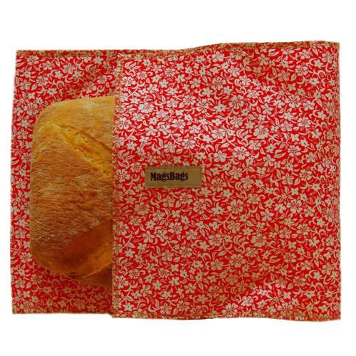 Chlebapsa-kapsa na chléb, červená s kvítky