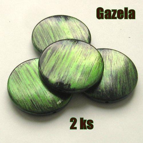 Žíhaná velká zelená kolečka - 2 ks