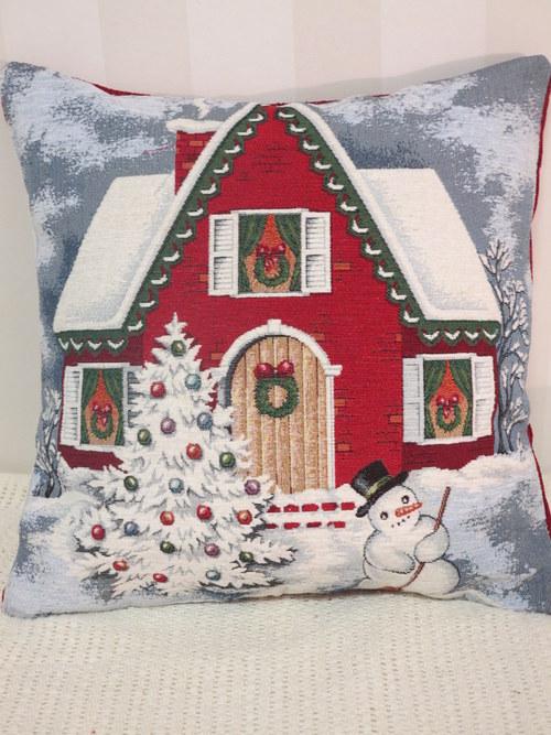 Povlak na polštář - vánoce -dům se sněhulákem