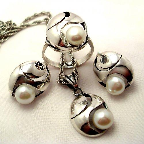 Souprava «Břízový vítr» - bílá perla, Ag 925/1000