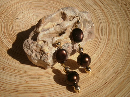 Čokoládové perličky - naušnice