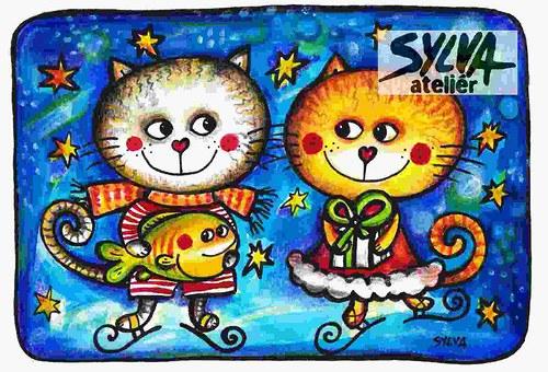 Kočky na ledě - pohlednice