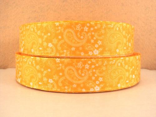 Stuha rypsová š.25 mm:Paisley-žlutá