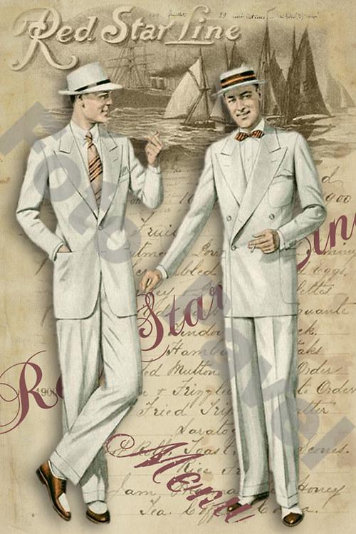 Vintage motiv - gentlemani na břehu moře