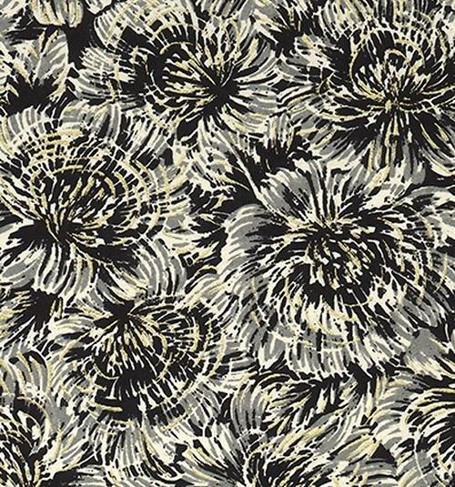 Handmade papír - Černé divoké květiny
