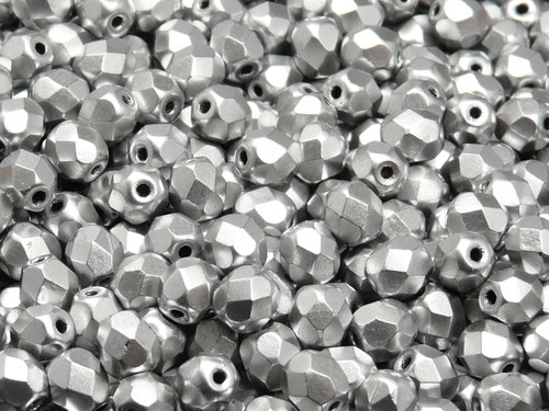 50ks Broušená kulička 6mm Bronz stříbrný matný