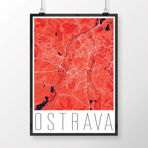 OSTRAVA, 50x70cm, moderní, červená