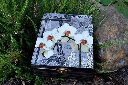 Krabička na čaj - 4 přihrádky - PAŘÍŽ a orchidej