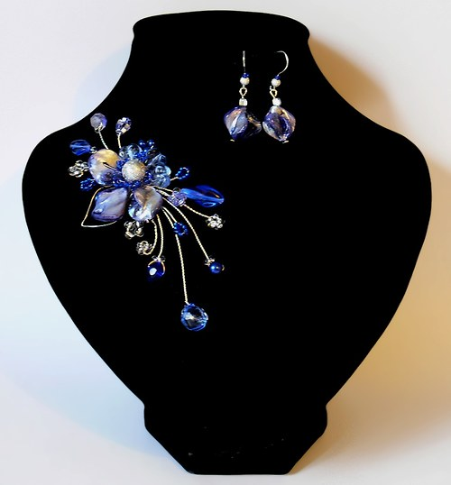 modrá paráda - brož a náušnice