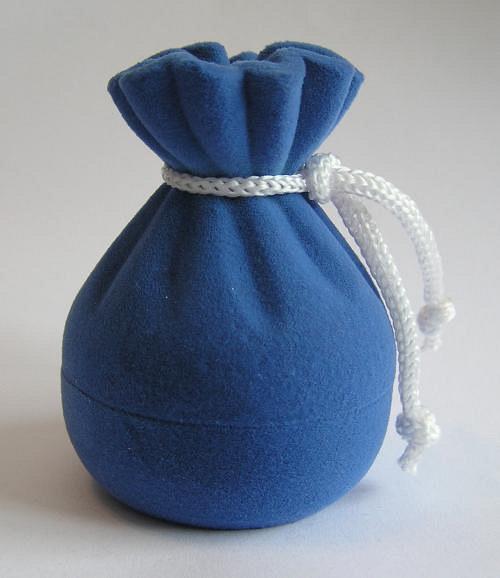 Sametová krabička na šperky - měšec modrý