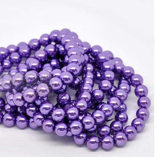 perly skleněné/ fialové - středně/ 10mm/ 10ks
