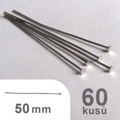 Ketlovací nýty 5cm - platina - 60ks