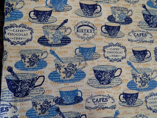 Látka čaj káva modrá