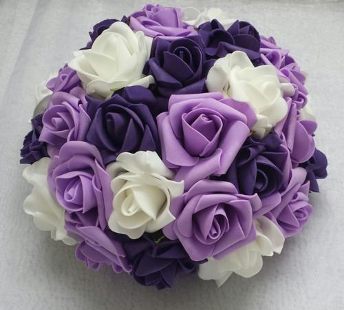 Buket na svatební auto odstíny fialové