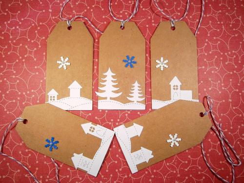 Vánoční visačky - vánoční domečky