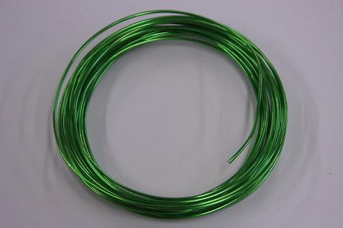 Hliníkový drátek 1,5mm zelený  - v návinu 6m