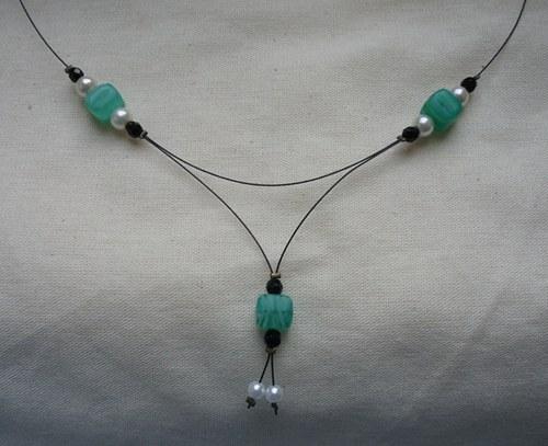 Zelený kostičkatý náhrdelník - SLEVA!!!