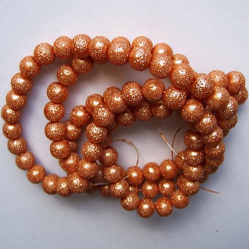 vroubkované voskové perly/ rezavá/ 8mm/10ks