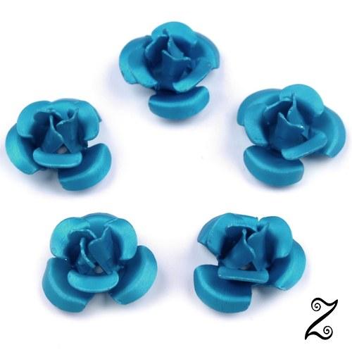 Kovová růžička, modrá střední, 12 mm (10ks)