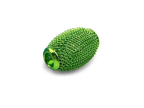 9001097/Drátkovaný korálek široký, zelený II, 1 ks