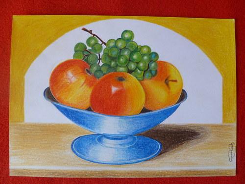Zátiší jablka a víno