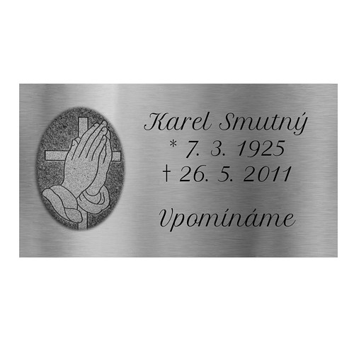 Smuteční cedulka stříbrná 9x5cm