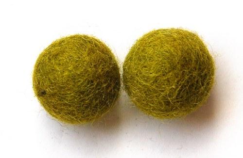 2 ks - plstěné kuličky olivové 20mm