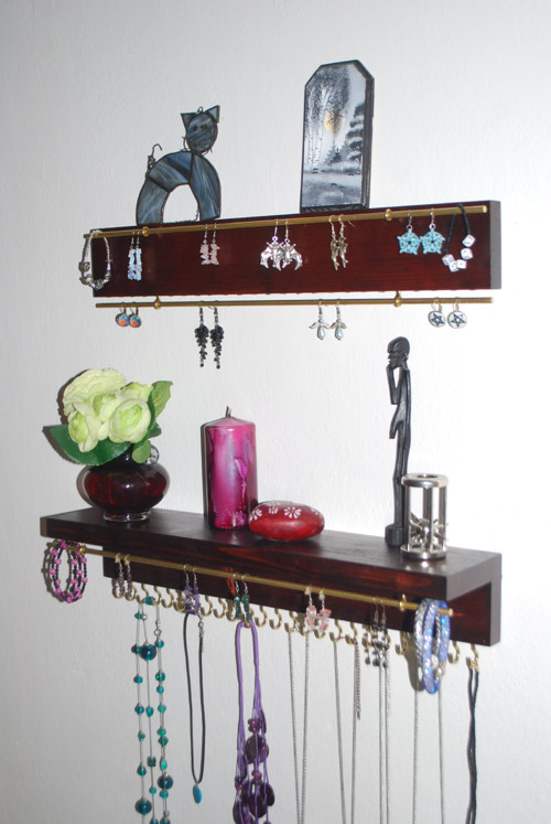 Polička s lištou na šperky 25 háčků - 3 x tyčka