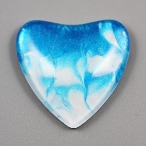 Kabošon: sklo, srdce 35*35 mm