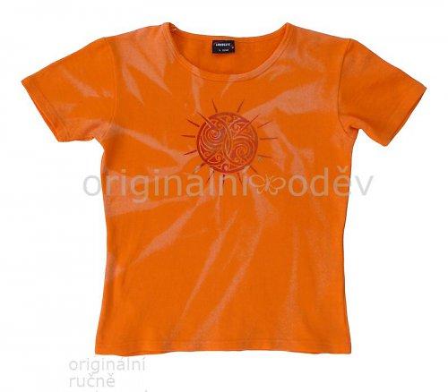 SLEVA: Malované tričko dámské - slunce - oranžové