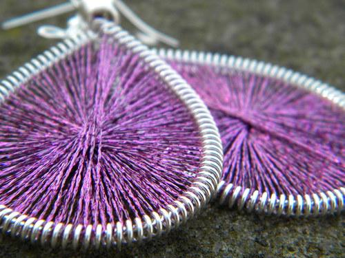 Naušnice - světle fialové třpytky
