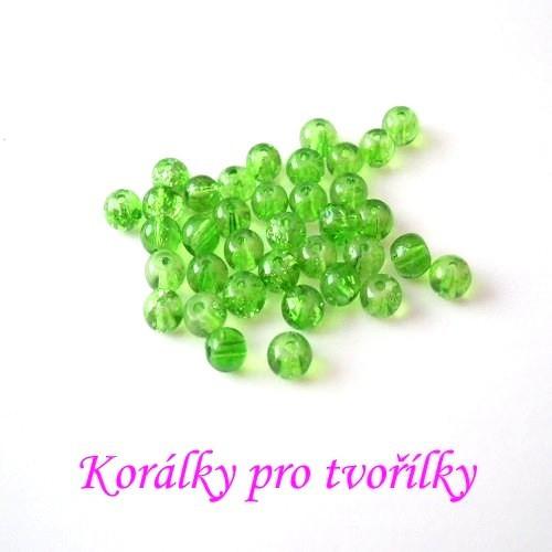 Práskané korálky zelené 4mm/20ks/7,- Kč