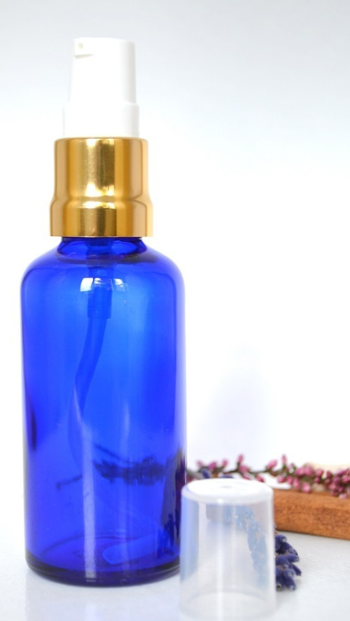 Lahvička sklo 50ml modrá + zlatá pumpička