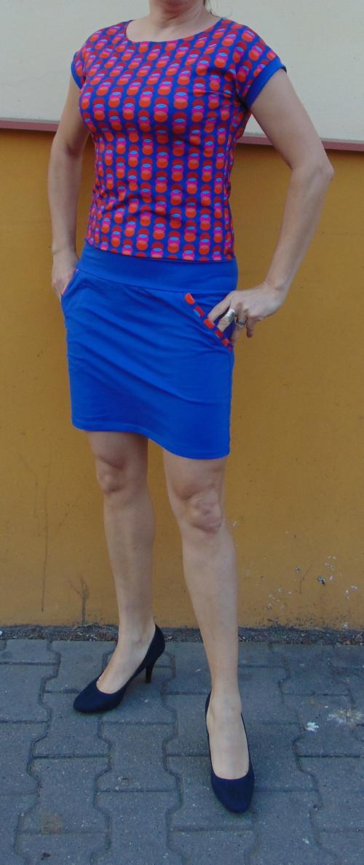 šaty  Retro puntíky s modrou