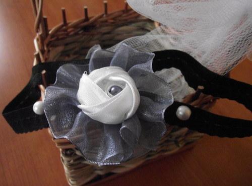 Černá a šedá čelenka pro miminko / malou slečnu