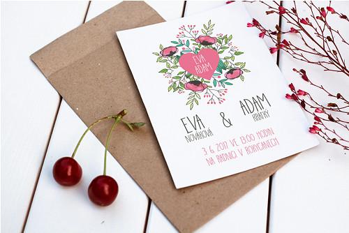 Svatební oznámení, růžové