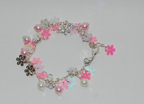 Náramek z kytiček a perel - růžová