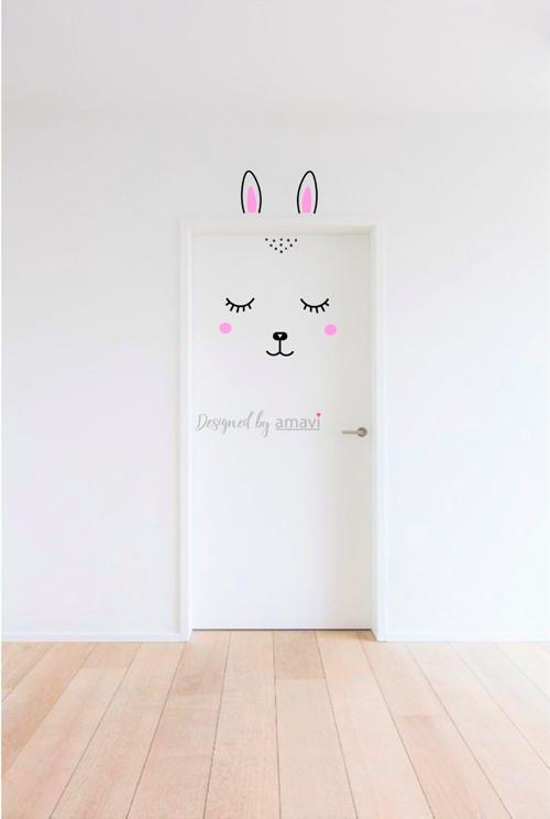 Nálepka na dveře / zeď - Happy Bunny v01